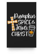 Pumpkin Spice & Jesus Christ Plaid Cross Fall Christian Gift Baseball Matter Poster