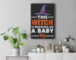 This Witch Is Brewing Up A Baby Halloween Pregnancy Reveal Premium Wall Art Canvas Decor