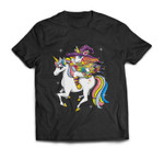 Funny Halloween Women & KIds Outfit - Riding Unicorn Witch T-shirt