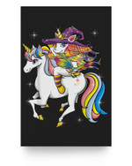 Funny Halloween Women & KIds Outfit - Riding Unicorn Witch Matter Poster