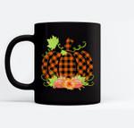 Buffalo Plaid Pumpkin Fall Halloween & Thanksgiving Ceramic Coffee Black Mugs