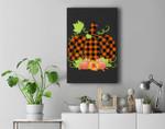 Buffalo Plaid Pumpkin Fall Halloween & Thanksgiving Premium Wall Art Canvas Decor