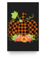 Buffalo Plaid Pumpkin Fall Halloween & Thanksgiving Matter Poster