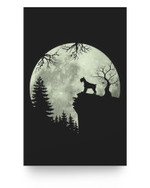 Miniature Schnauzer Dog and Moon Howl In Forest Halloween Matter Poster