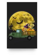 Miniature Schnauzers Dog Pumpkin Truck Halloween Matter Poster