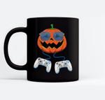 Jack O Lantern Video Games Controller Gamer Halloween Ceramic Coffee Black Mugs