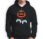 Jack O Lantern With Controller Video Gamer Boys Halloween Sweatshirt & Hoodie