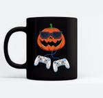 Jack O Lantern With Controller Video Gamer Boys Halloween Ceramic Coffee Black Mugs