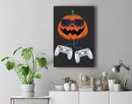 Jack O Lantern With Controller Video Gamer Boys Halloween Premium Wall Art Canvas Decor