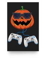 Jack O Lantern With Controller Video Gamer Boys Halloween Matter Poster