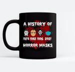 A History of Horror Masks Funny Halloween Costume Ceramic Coffee Black Mugs