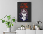 Hand Drawn Witch Girl with Butterfly Stay Weird Premium Wall Art Canvas Decor