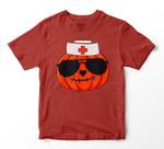 Halloween Nurse Jackolantern Pumpkin Nurse Costume Men Women Youth Hoodie/T-shirt
