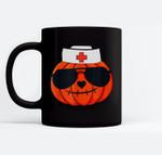 Halloween Nurse Jackolantern Pumpkin Nurse Costume Men Women Ceramic Coffee Black Mugs