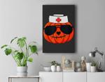 Halloween Nurse Jackolantern Pumpkin Nurse Costume Men Women Premium Wall Art Canvas Decor