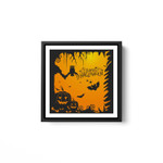 Halloween Party - Happy Halloween White Framed Square Wall Art