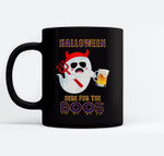 Halloween Party Ghost Drinking Beer I'm Here For The Boos Ceramic Coffee Black Mugs