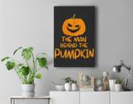 Halloween Pregnancy Man Behind The Pumpkin Halloween Couple Premium Wall Art Canvas Decor