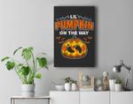 Halloween Pregnancy Maternity Lil' Pumpkin On The Way Premium Wall Art Canvas Decor
