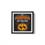 Halloween Pregnancy Maternity Lil' Pumpkin On The Way White Framed Square Wall Art