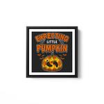 Halloween Pregnancy Women Men Expecting Little Pumpkin White Framed Square Wall Art