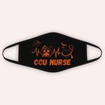 Halloween Pumpkin CCU Nurse Stethoscope Heartbeat Nursing Cloth Face Mask