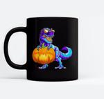 Halloween TRex with Pumpkin Dinosaur T Rex Boys Girls Ceramic Coffee Black Mugs