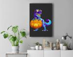 Halloween TRex with Pumpkin Dinosaur T Rex Boys Girls Premium Wall Art Canvas Decor