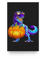 Halloween TRex with Pumpkin Dinosaur T Rex Boys Girls Matter Poster