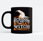 Halloween Witch & School Bus Driver Ceramic Coffee Black Mugs
