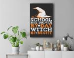 Halloween Witch & School Bus Driver Premium Wall Art Canvas Decor
