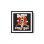 Happy Christmas Funny Biden Jokes Horrors Halloween Pumpkin White Framed Square Wall Art