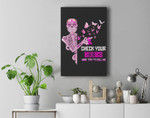 check your boobs mine try to kill me breast cancer halloween Premium Wall Art Canvas Decor