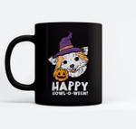 Chihuahua Witch Happy Howl O Ween Halloween Chiwawa Dog Ceramic Coffee Black Mugs