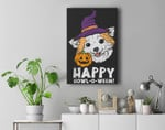 Chihuahua Witch Happy Howl O Ween Halloween Chiwawa Dog Premium Wall Art Canvas Decor