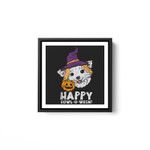 Chihuahua Witch Happy Howl O Ween Halloween Chiwawa Dog White Framed Square Wall Art