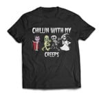 Chillin With My Creeps Halloween Pumpkin Spice Witch Graphic T-shirt