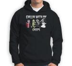 Chillin With My Creeps Halloween Pumpkin Spice Witch Graphic Sweatshirt & Hoodie