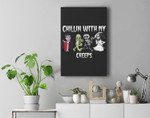 Chillin With My Creeps Halloween Pumpkin Spice Witch Graphic Premium Wall Art Canvas Decor
