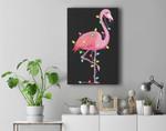 Christmas Lights Flamingo Lover Funny Xmas Gift Premium Wall Art Canvas Decor