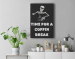 Coffin Break Funny Skeleton Halloween Coffin Break Premium Wall Art Canvas Decor