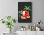 Santa Claus Surfing Hawaiian Summer Christmas Outfit Premium Wall Art Canvas Decor