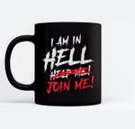 Satan loves me Baphomet Devil 666 In Hell Ceramic Coffee Black Mugs