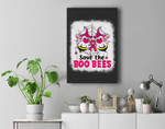 Save The Boo Bees Breast Cancer Awareness Halloween Premium Wall Art Canvas Decor