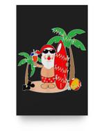 Santa Claus Surfing Hawaiian Summer Christmas Outfit Matter Poster