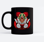 Scary clown as a costume for Halloween celebration Ceramic Coffee Black Mugs