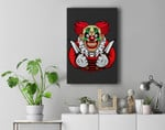 Scary clown as a costume for Halloween celebration Premium Wall Art Canvas Decor