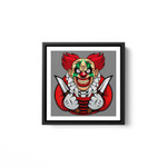 Scary clown as a costume for Halloween celebration White Framed Square Wall Art