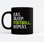 Eat Sleep Football Repeat Player Cool Gift Ceramic Coffee Black Mugs