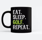 Eat Sleep Golf Repeat Funny Golfer Golfing Gift Christmas Ceramic Coffee Black Mugs